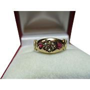 SALE Exquisite Victorian Birmingham 1895  9ct Gold Ruby + Split Seed-Pearl Gemstone Ring.