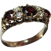 SALE Attractive 14ct .585  Solid Gold 7-Stone Garnet + Cubic Zirconia Gemstone Ring