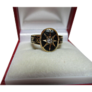Superb Pre-1882  Victorian 18ct Solid Gold Diamond Gemstone + Black Enamel Memorial Ring.