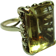 SALE Decorative Antique 18ct Solid Gold 'Block Shaped' Citrine Gemstone Ring
