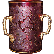 SOLD Stunning Harrach Cranberry Glass Cameo Glass Loving Cup Moser Era