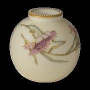 Signed Mt Washington Smith Brothers ( Bros )  Floral enamel Opal Glass Vase Circa 1880