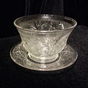 Anchor Hocking Custard Cup and Underplate in the Sandwich Glass Pattern from Anchor Hocking