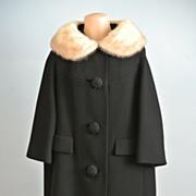 Black Wool Swing Coat With Blonde Mink Collar.