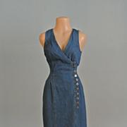 A Stunning Dark Blue Denim V-neck Sleeveless Dress.