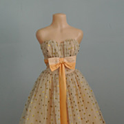 A 1950's Prom/Evening Dress Of Gold Organdy And Polka Dots