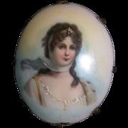 Antique Limoges Portrait Brooch Queen Louise of Prussia