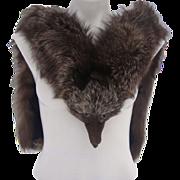 Vintage Burgundy Crystal Fox Fur Stole