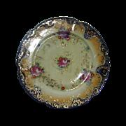Royal Nippon Cobalt Plate Pre 1891 Roses Asters Lavish Gold