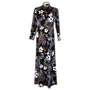 Vintage 1970's Full Length Maxi Dress Hostess Gown