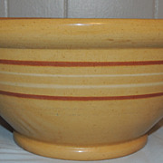 Antique Yellow Ware Slip Banded Bowl w Rolled Rim 13 Inch