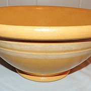 Antique Yellow Ware Slip Banded Bowl w Rolled Rim 12 Inch