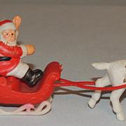 Molded Plastic Miniature Santa Sleigh & Reindeer