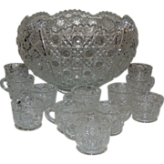 L E Smith Daisy and Button EAPG Glass Punch Bowl Set