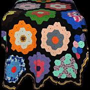 SOLD Large Handmade Crochet Knit Blanket Coverlet Bedspread Grandmother's Flower Garden