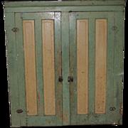 Antique Primitive 2 Door Blind Hanging Cupboard Cream & Green Paint