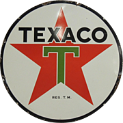 SOLD 1937 Porcelain Enamel Double Sided Texaco Service Station Sign
