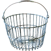 Early Primitive Wire Egg Basket with Bale Handle