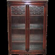 1940s Mahogany Two Glass Door Bookcase Bookshelf
