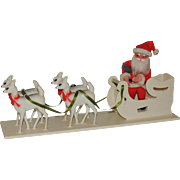 Vintage Irwin Plastic Christmas Display Santa Sleigh Reindeer