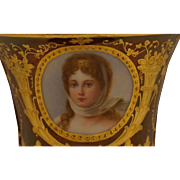 REDUCED Dresden Ambrosius Lamm Porcelain Portrait Cup and Saucer of the Queen Louise of Prussi
