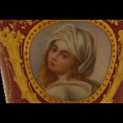 Ambrosius Lamm Dresden Porcelain Portrait Demitasse Cup and Saucer Beatrice Cenci