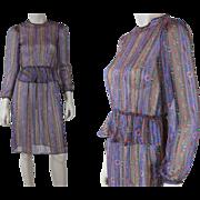 1980's Floral Print Chiffon Peplum Dress By Lucero