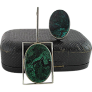 Vintage Modernist Sterling Silver Pendant And Ring With Green And Black Marbled Stones