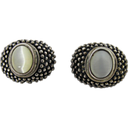 Vintage 1960's Granulated Sterling Silver Clip Earrings With Lustrous Stones