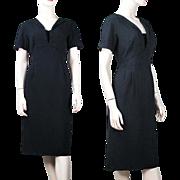 1950's Black Crepe Dress By Abe Shrader For B. Altman & Company