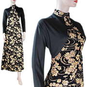 1970's Floral Velvet And Lamé / Lame Evening Gown With Editions Label