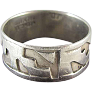 Mid-Century Mexican Taxco Sterling Silver Modernist Ring Size 7 1/4