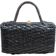 SOLD 1960's Woven Straw And Vinyl Box Style Handbag