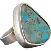 SALE Vintage Sterling Silver And Turquoise Ring Size 7