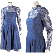1970's Lace Party Dress With Silk Underdress