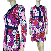 1960's Vintage Floral Print Dress By Keram New York