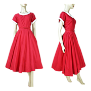 SALE 1950's Belted Cotton Day Dress Fashioned By Lampl