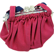 1940's Cotton Pouch Style Purse With Lucite Frame