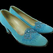 SALE 1960's Fragiocomo Creazioni Turquoise Silk Shoes With Beading And Rhinestones