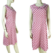 1940's Checked Cotton Day Dress Larger Size