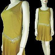 1960's Gold Drop Waist Cocktail Dress By Jr. Theme New York
