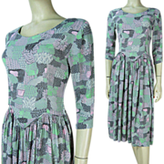 SALE 1940's Printed Rayon Crepe Dress
