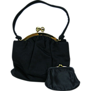 1950's Black Felt Bienen Davis Evening Bag With Attached Change Purse