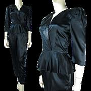 SALE 1980's Black Satin Peplum Jumpsuit