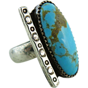SALE Vintage Native American Sterling Silver Turquoise Ring Size 9 1/2