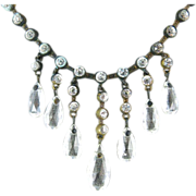SALE 1920's Vintage Crystal Drop Fringe Necklace