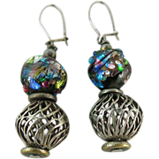 Circa 1930 800 Silver And Foiled Glass Kidney Wire Earrings