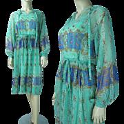 1970's Cézanne Printed Chiffon Dress
