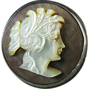 Circa 1915 Sterling Silver Carved Abalone Cameo Pendant Brooch