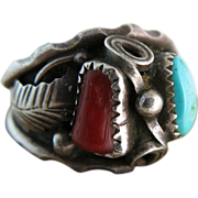 Vintage Native American Navajo Sterling Silver Turquoise And Spiny Oyster Ring Size 13